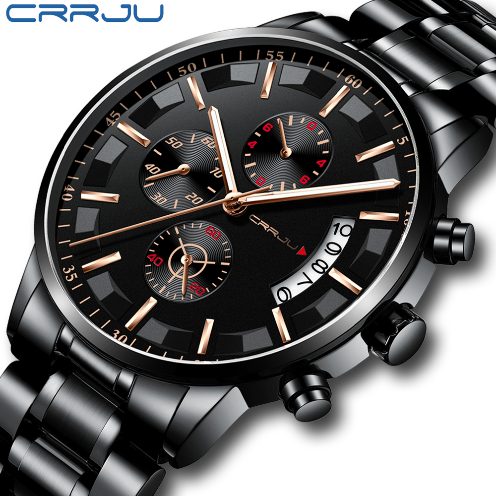 2019 New Fashion CRRJU Top Brand Luxury Watches Men Business Casual Stainless Steel Chronograph Quartz Wristwatch Relojes Hombre
