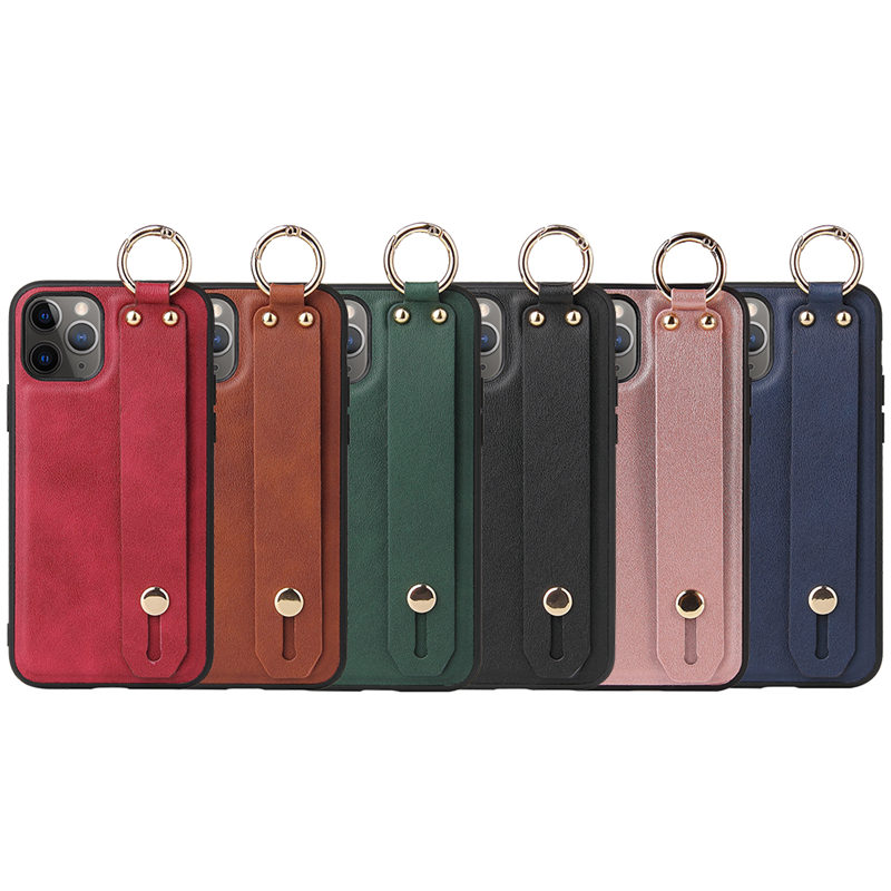 Wrist Strap Stand Holder PU Leather Phone Case For iPhone 12 Pro Max