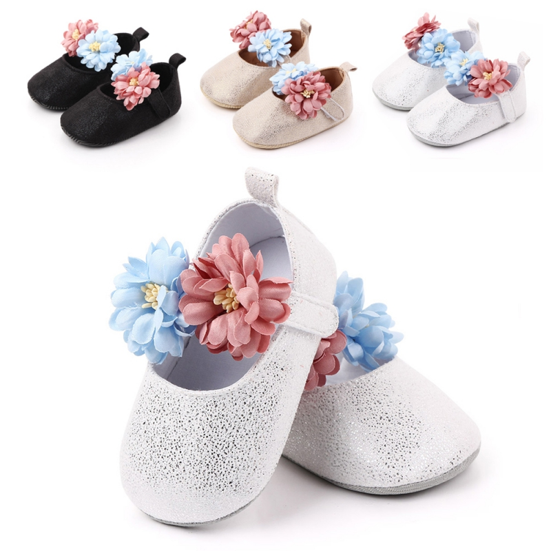 Baby Shoes Cute Flower Newborn Shoes Headband Set Soft Bottom Anti Slip Toddler Shoes Infant Shoes Girls First Walkers