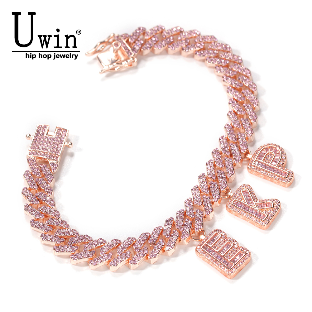 Uwin DIY Baguette Letters with 12mm Rose Gold S-Link Miami Cuban Necklace Pendants Anklets Charms Hiphop Jewelry