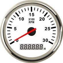 Medidor de tacômetro para carro, sensor de tacho para carro, 85mm, com hormômetro lcd, 3000, 4000, 6000 rpm, barco, 12 luz de fundo vermelha v/24v