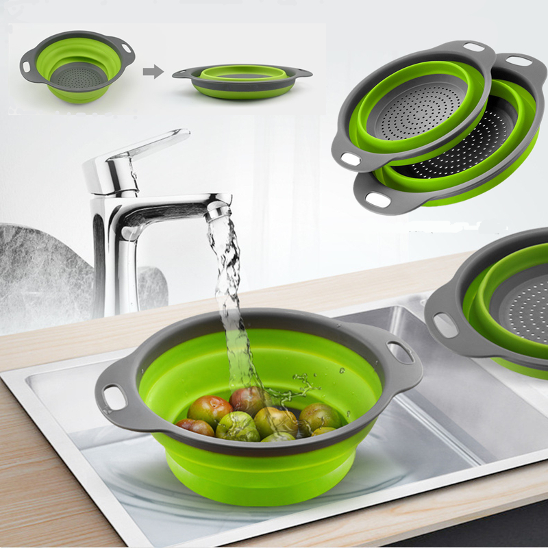 Collapsible Silicone Kitchen Vegetable and Fruit Bowl Sink Drain Basket Washing Tool Kitchen Gadget Sets     - title=