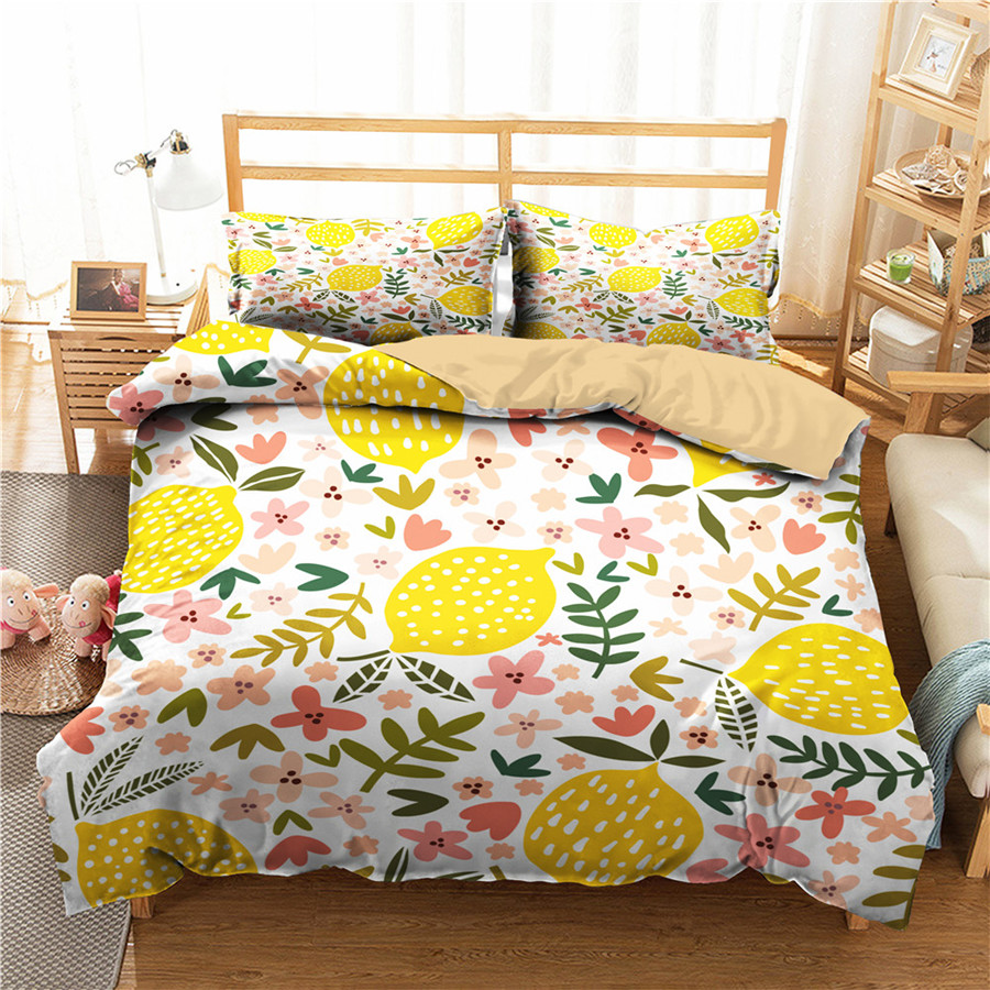 A Bedding Set 3D Printed Duvet Cover Bed Set Lemon Fruit Home Textiles For Adults Bedclothes With Pillowcase #NM03