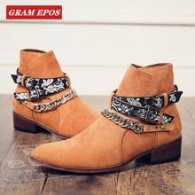 GRAM EPOS/Роскошные брендовые кожаные мужские ботинки; сезон осень-зима; модные свадебные ботинки «Челси» с острым носком; Мужские ботинки в байкерском стиле в винтажном стиле