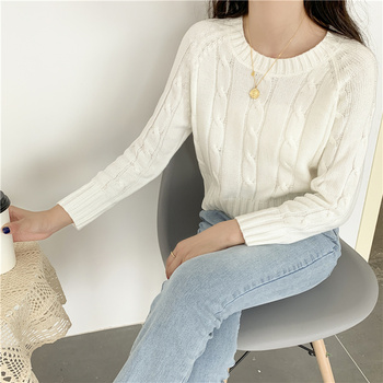 Ailegogo New 2020 Winter Women's Crop Top Sweaters Tops Fashionable Korean Style Knitting Casual Solid Pullover O-neck 2
