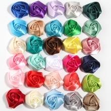 "200 pcs 3.6 cm 1.4 ""헤어 액세서리에 대 한 새로운 로즈 버드 꽃 미니 압 연된 rosettes 새틴 리본 로즈 패브릭 꽃 머리띠에 대 한"