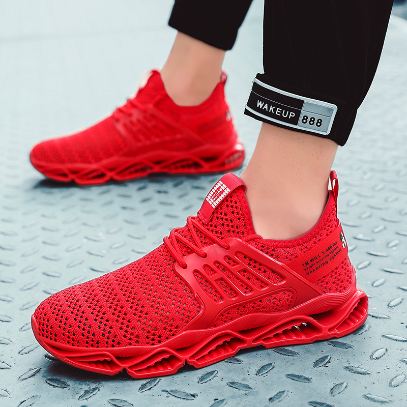 Stylish Men Running Shoes Comfortable Breath Sport Sneaker Mesh Outdoor Fitness Air Cushioning TPU Run Jogging Trainers Shoes