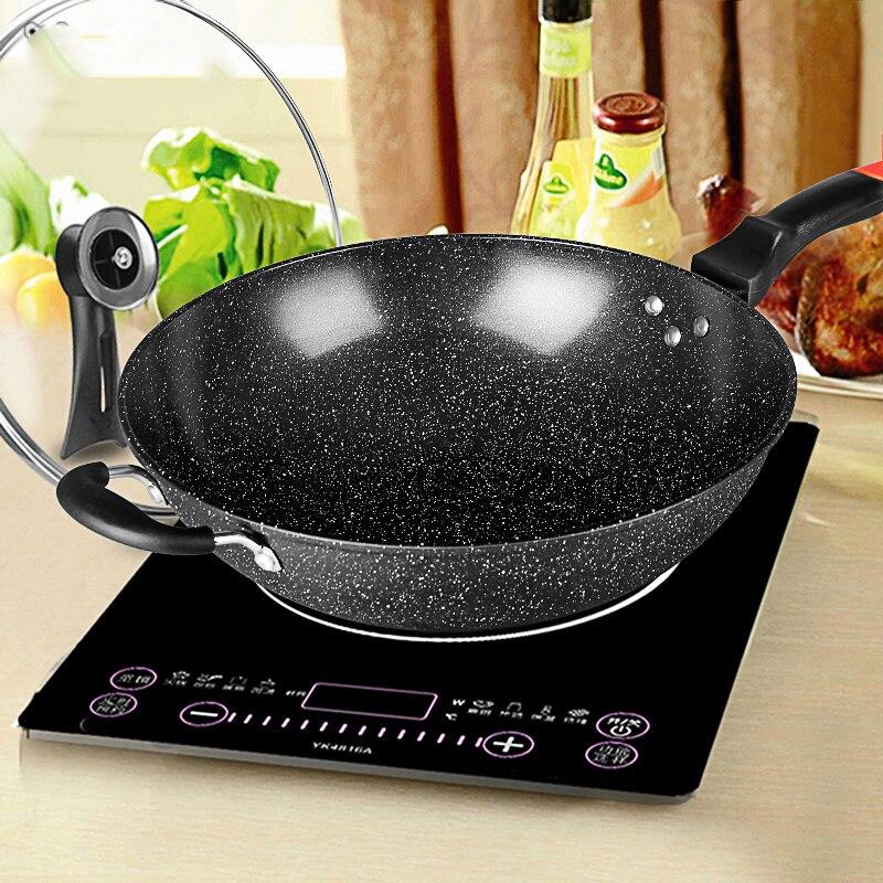 Panela Wok de Maifan Pedra Não-stick Pan No-32CM34CM Agitar-fritar fumaça Fogão de Indução Fogão A Gás de Ferro pot Cozinhar Pote Potes de Cozinha