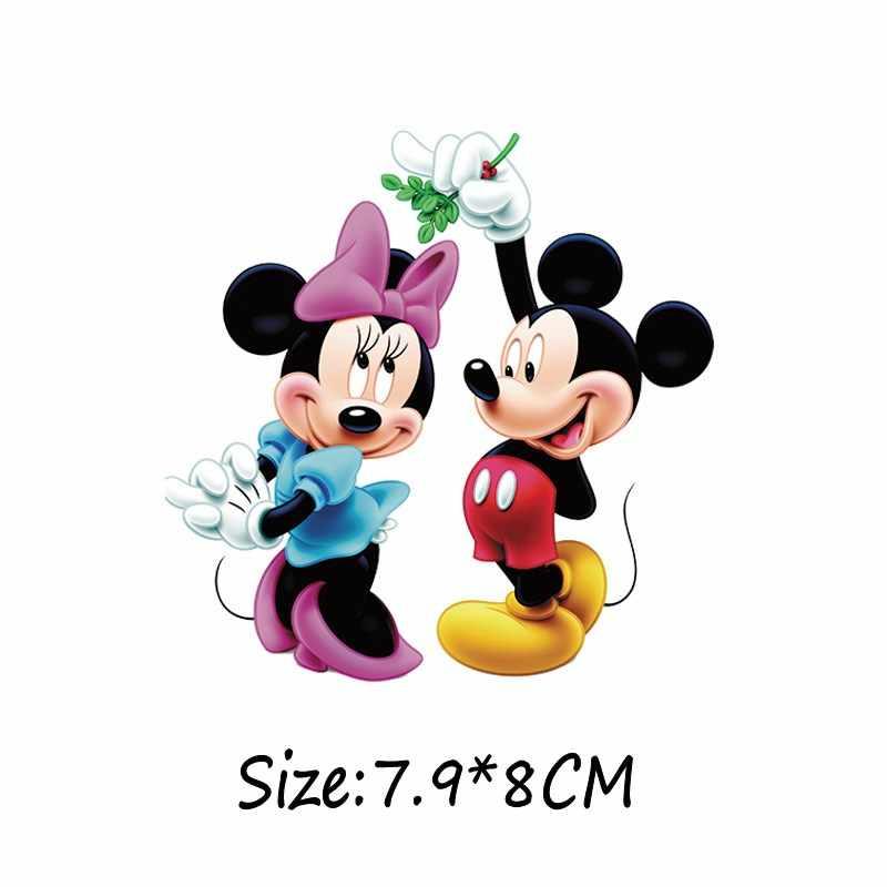 1 pçs mickey personagem diy adesivo de ferro na roupa minnie transferência térmica camiseta remendo impressão calor sensível vestuário decoração