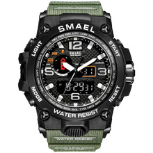 2020 Smael zegarki na rękę mężczyźni wojskowe zegarki sportowe męskie zegarki kwarcowe 50m wodoodporne S Shock 1545 relogios masculino reloj tanie tanio 22cm QUARTZ Podwójny Wyświetlacz NONE 5Bar Klamra CN (pochodzenie) Z tworzywa sztucznego 18mm Hardlex Nie pakiet 51mm
