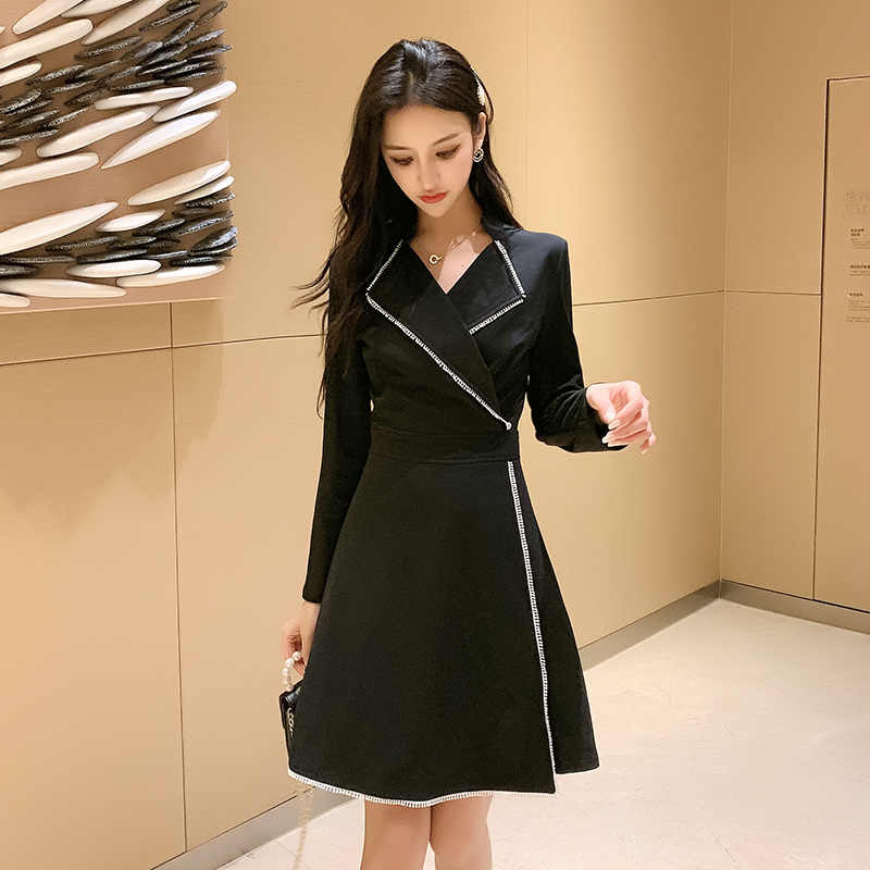 Корейское модное темпераментное платье Весна Осень офисное женское Зазубренное воротник с длинным рукавом ТРАПЕЦИЕВИДНОЕ черное платье s-xl