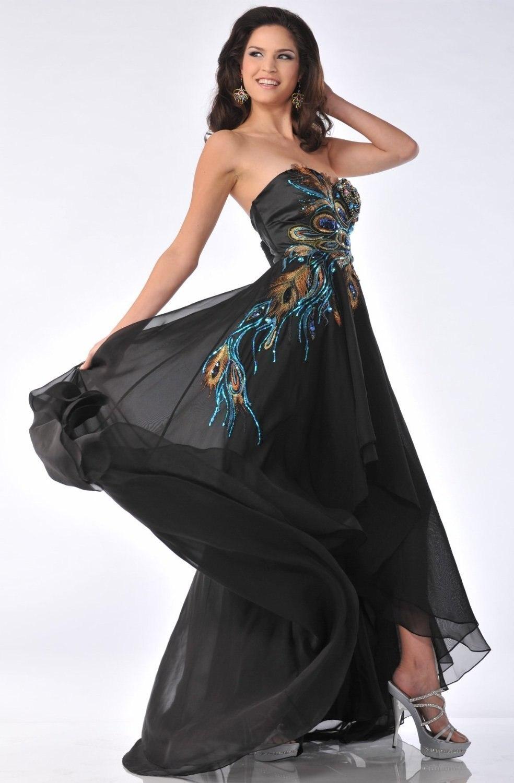 платье 2020 Applique Peacock Black Sweetheart Long Party Prom Gown Chiffon Beach Peacock Estido De Noiva Bridesmaid Dresses