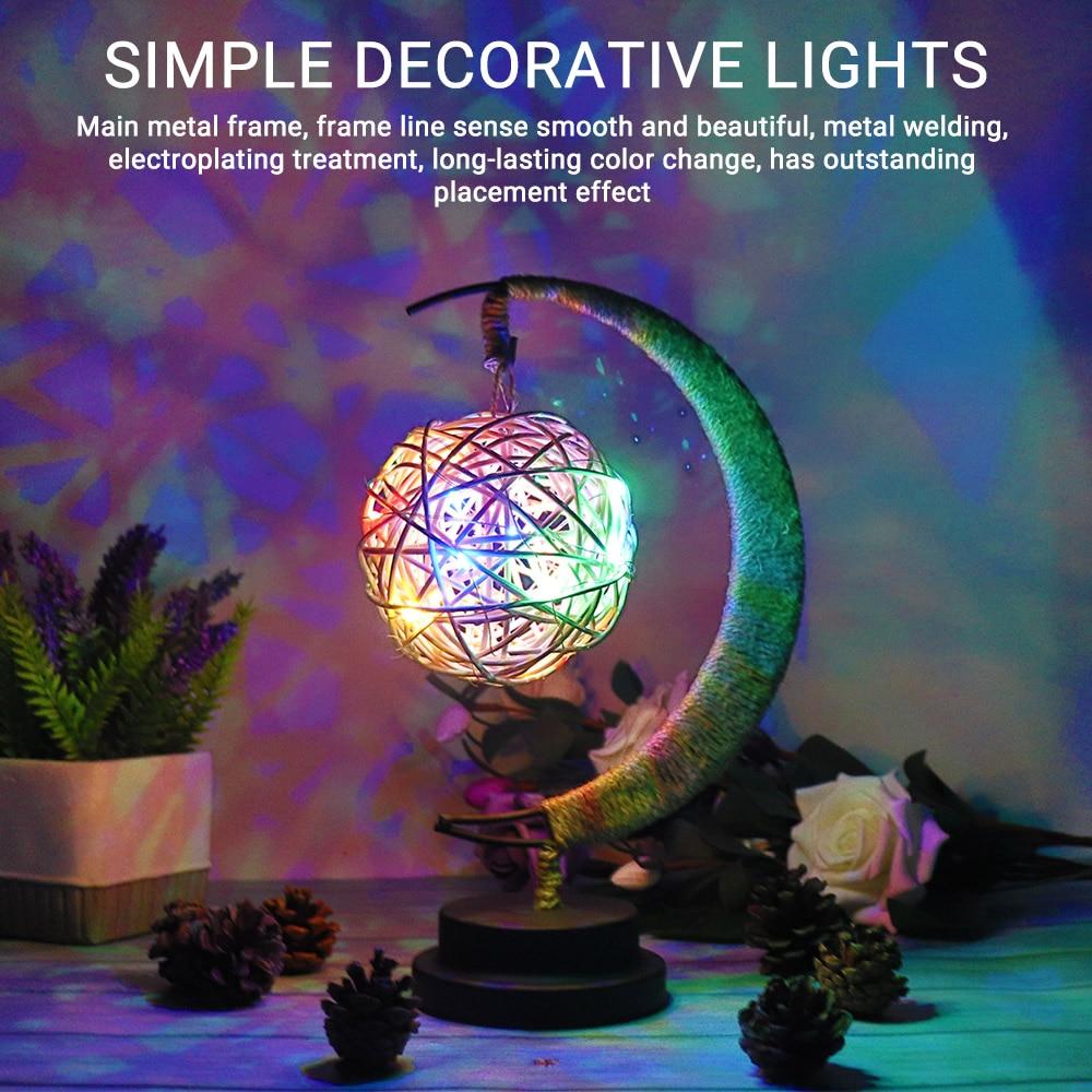Handmade Crafts LED Night Light Moon Lamp Retro Decorative Desk Table Lamp Birthday Christmas Gifts Wedding Party Decorations