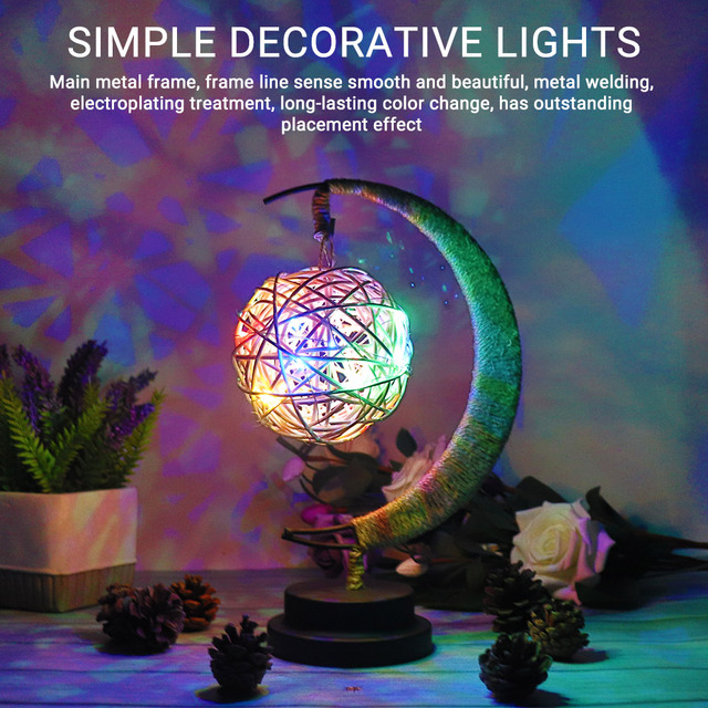 Rękodzieło LED lampka nocna księżyc lampa gwiezdna Retro dekoracyjna lampa stołowa prezenty na urodziny, boże narodzenie dekoracje weselne