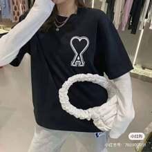 Summer Men's T-shirt Women's T-shirt Pure Cotton Short Sleeve T-shirt AMI Star Same Style Fashion T-shirt