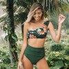 CUPSHE Green Floral Ruffled One-Shoulder Bikini Sets Sexy High-waist Swimsuit Two Pieces Swimwear Women 2020 Beach Bathing Suit