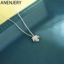ANENJERY 925 ayar gümüş yeni narin akçaağaç yaprağı kolye kadınlar için klavikula zincir kolye arkadaş hediye S-N579