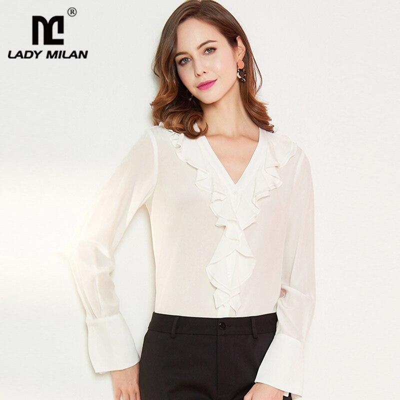 Lady Milan 100% Pure soie femmes Designer chemises Sexy col en V manches longues volants mode blouse décontractée chemises