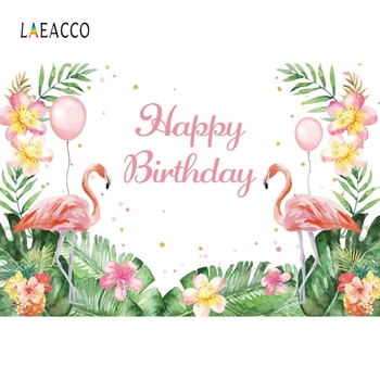 Laeacco Birthday Photography Backgrounds Baby Photo Backdrops Flamingo Photophone Flowers Tropical Leaves For Photo Studio Props 60x84 inches flowers theme photography backdrops party background for wedding baby birthday decoration photo wall studio props