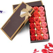 18 pçs perfumado rosa flor pétala banho corpo sabão festa de casamento presente flor de jabon decoração de casa segurando flores #40