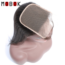 MOBOK Brazilian 6*6 Lace Closure Straight With Baby Hair Natural Color Remy Hair Dark Brown Swiss Lace 130% Density 16 inches originalfake kaws clean slate with baby brown color in original box 40cm h