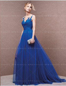 Sexy backless Prom 2018 lace appliques a-line blue tulle Evening Floor Length Long Formal Party gown mother of the bride dresses sexy long sleeve lace sequin dubai style a line formal arabic evening prom gown robe de soiree 2018 mother of the bride dresses