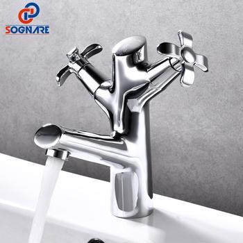 SOGANRE Bathroom Faucet Solid Brass Basin Mixer Bathroom Accessories Tap Cold Hot Bathroom Sink Basin Mixer Tap Crane Torneira
