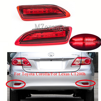 цена на 1 Pair Led Rear Bumper Reflector light For Toyota Corolla/For Lexus CT200h Tail Stop Brake Lights Car Accessories turn signal
