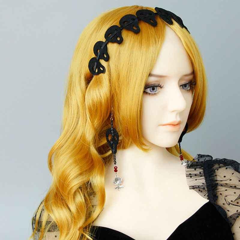 Femmes fille noir crâne bandeau feutre tissu cheveux cerceau Halloween Cosplay casque C6UD