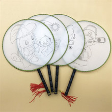 Wholesale Children's Hand-made Palace Fan DIY Blank Painting Cartoon Fan Chinese Style Mini Craft Gift To Kids