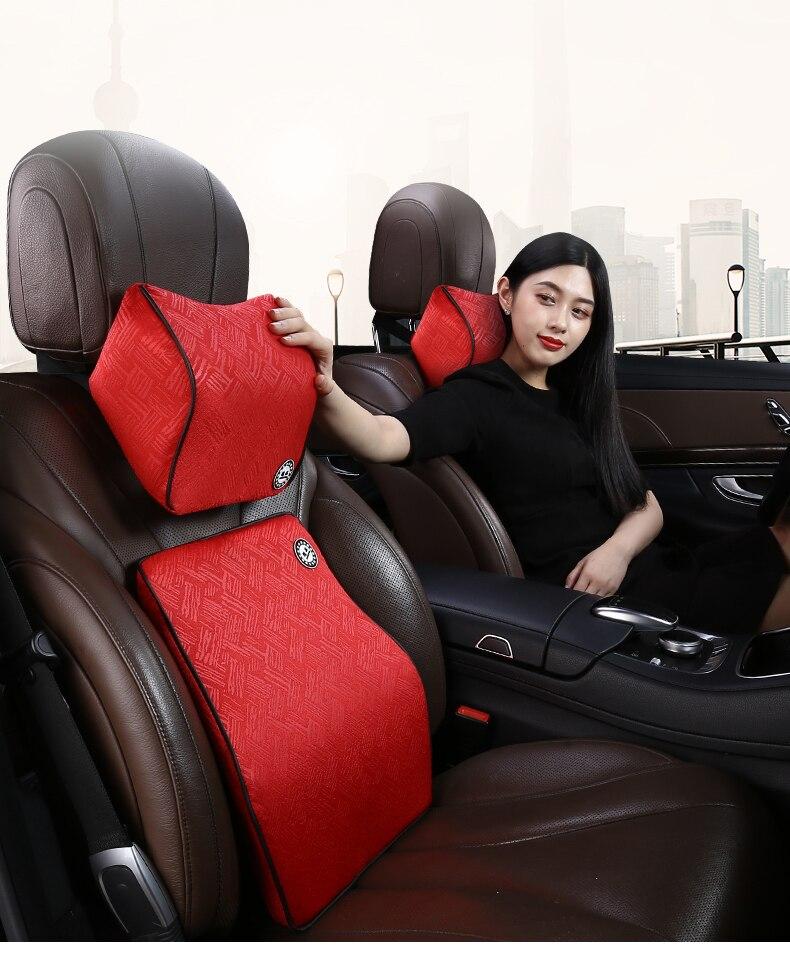 Otomobiller ve Motosikletler'ten Boyun Yastığı'de El stitchedCar bellek pamuk kafalık boyun yastık bel yastığı araba Acura TL 2004 2005 2006