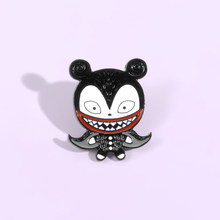 Broche noire en émail pour petite chauve-souris, avec dents de spectacle, mauvais rire, pour bébé, grande bouche, animal nocturne