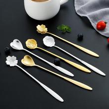Spoon Salelong-Handle Heart-Shaped Stainless-Steel Golden Cute Home Hot Petal Japanese-Style