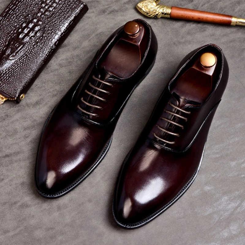 Phenkang Nam Chính Thức Da Thật Da Giày Oxford Nam Ý 2020 Đầm Giày Cưới Dây Da PINSV