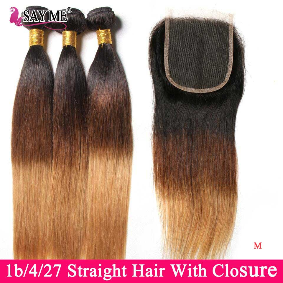 Ombre Straight Hair 3/4 Bundles With Closure Brazilian Hair Weave Bundles With Closure Remy Human Hair Bundles With Closure