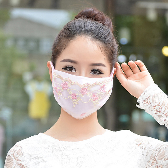 Korean face mask floral Embroidery cotton breathable masks protection dustproof cycling maske for women mondkapjes wasbaar 1