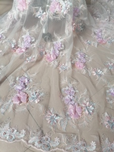 Image 3 - Luxury \ Hand applied 3D flower Embroidery French Mesh African Lace Fabric High end Dress, Wedding Dress, Evening Dress Design