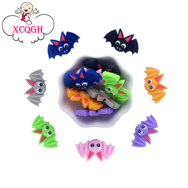 XCQGH 50PCS Baby Silicone Bat Molars Loose Beads DIY Pacifier Chain Bracelet Accessories Teether Beads