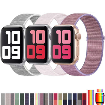 цена на Band For Apple Watch Series 4 5 40MM 44MM Nylon Soft Breathable Replacement Strap Sport Loop for iwatch series 3/2/1 38MM 42MM