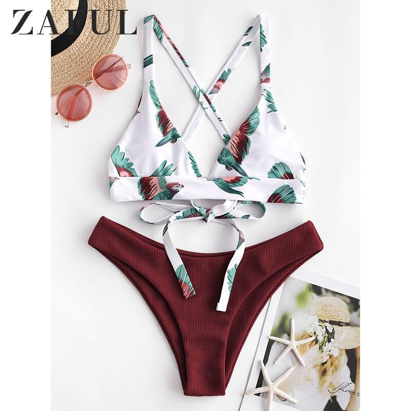 ZAFUL Women Bikini Swimsuit Bird Color Block Criss Cross Bikini Set Lady Sexy Swimwear Summer Beach Bathing Two Pieces Swimsuit
