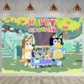 Детский фон Bluey для фотосъемки с изображением мультяшных собак семейвечерние НКИ детского дня рождения торта десерта стола декор сада ЗЕЛЕ...