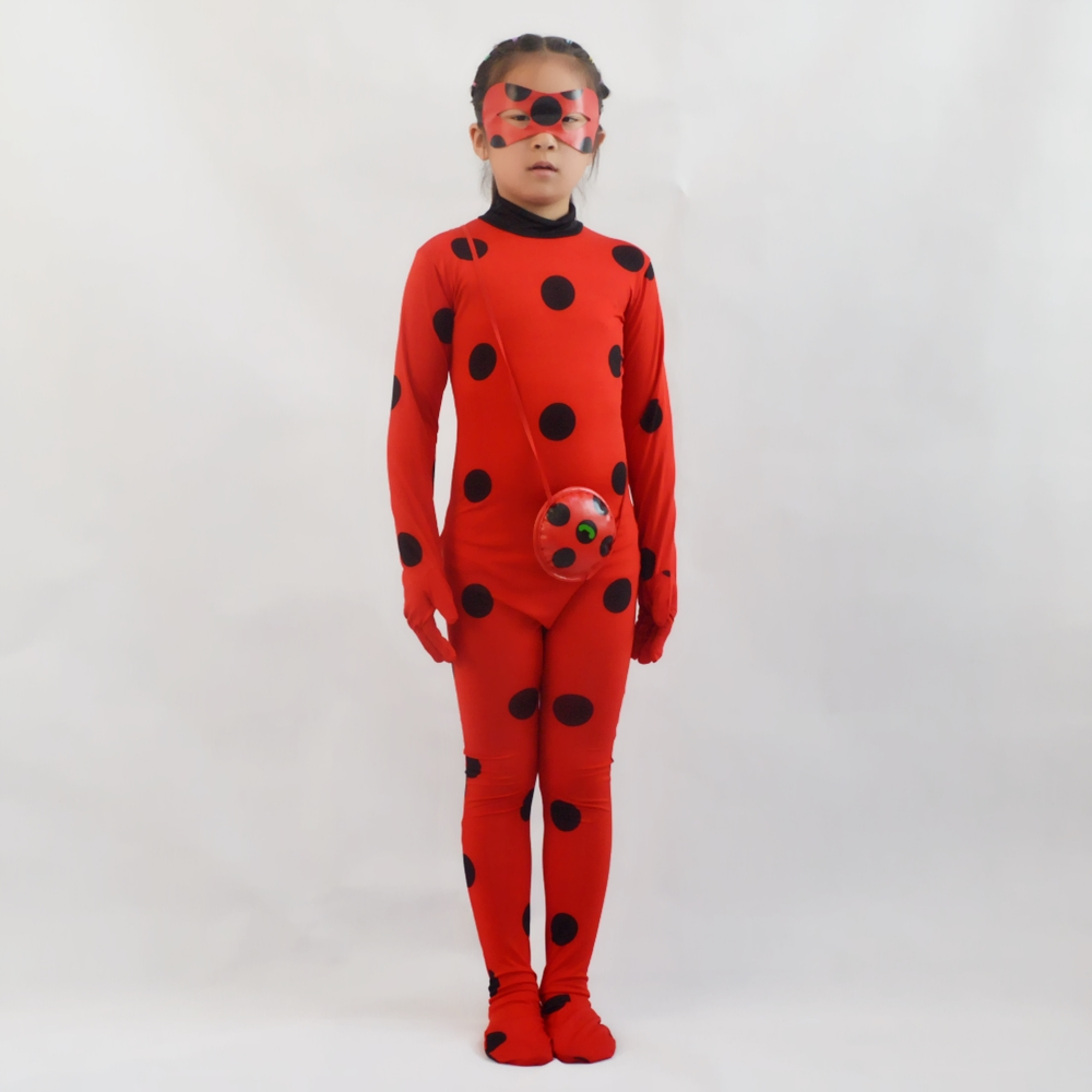 Adult Kids Fantasia Lady Cosplay Bug Costume Black Cat Noir Full Set Halloween Costume Lady Spandex Marinette Bug  Suit