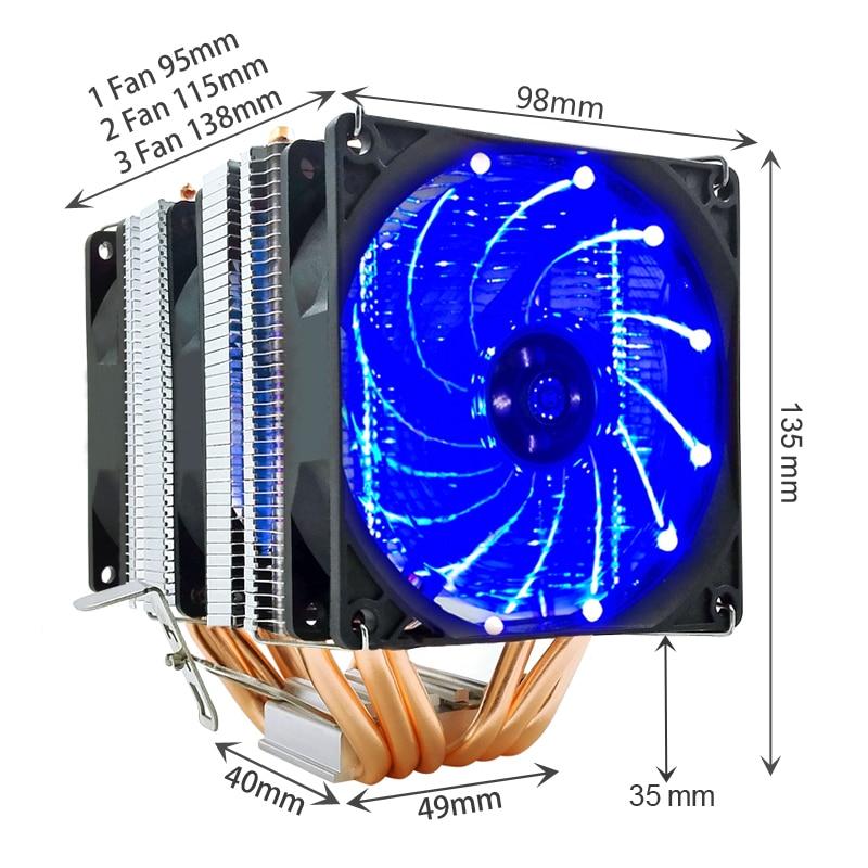 SNOWMAN 6 Heat Pipes CPU Cooler 4 Pin PWM RGB PC quiet Intel LGA 2011 775 1200 1150 1151 1155 AMD AM3 AM4 90mm CPU Cooling Fan 6