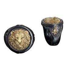 Винтажное панк кольцо на палец с головой льва черного золота