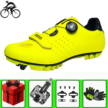 цена Self-locking cycling Shoes men sapatilha ciclismo mtb Mountain Bike Breathable sneakers women Bicycle Racing Self-Locking Shoes онлайн в 2017 году