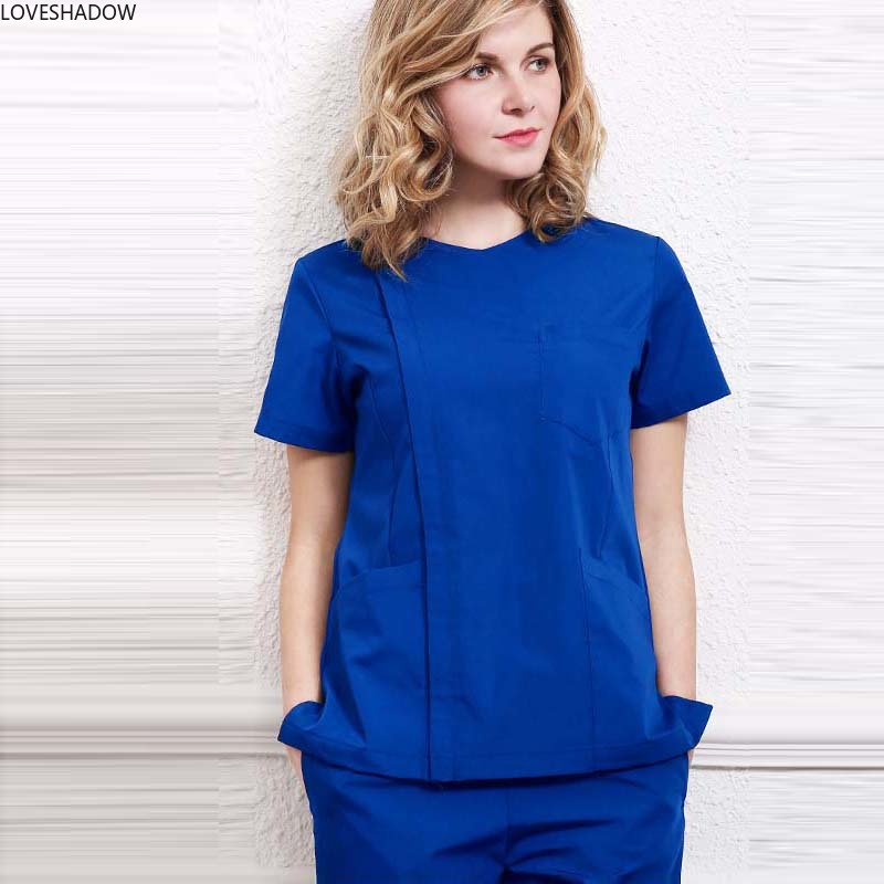 New Women Fashion Scrub Top Hidden Zipper Opening Medical Uniform Surgery Scrub Shirt Doctor Costume With Side Vent(Just A Top)
