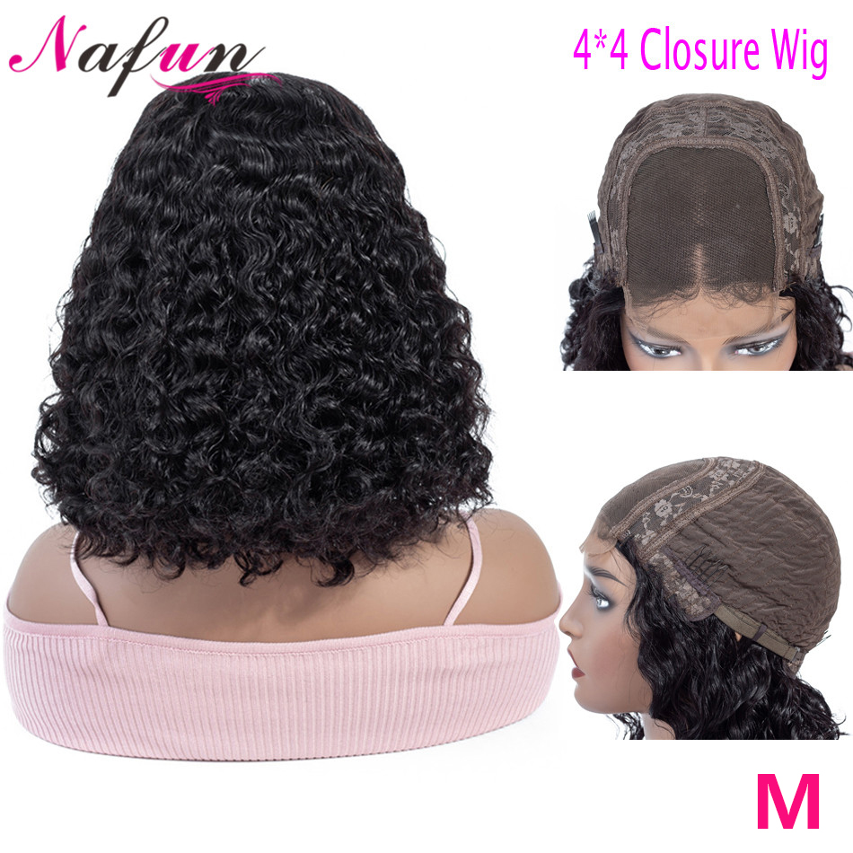 Nafun 4x4 Lace Closure Wig Human Hair Wigs For Woman Peruvian Remy Kinky Curly Wig Bob Wig Swiss Lace Wig 150% Density
