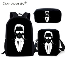 ELVISWORDS Fashion 3PC Set Backpacks Karl Lagerfelds Pattern School Bags For Girls Students Backpack/Flaps Bag/Pen