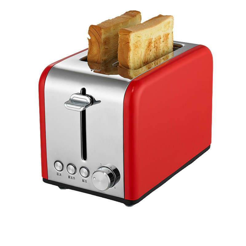 Нержавеющая сталь хлебопечка электрический тостер торт тост сэндвич печь гриль 2 ломтика автоматическая машина для выпечки завтрака ЕС - Цвет: red