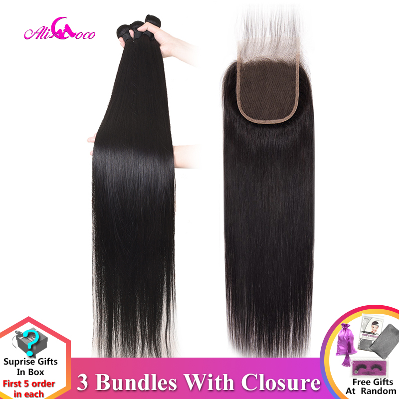 Brazilian Straight Hair Bundles With Closure 30 Inch 32 34 36 38 Middle Ratio Human Hair Bundles With Closure Remy Hair Ali Coco